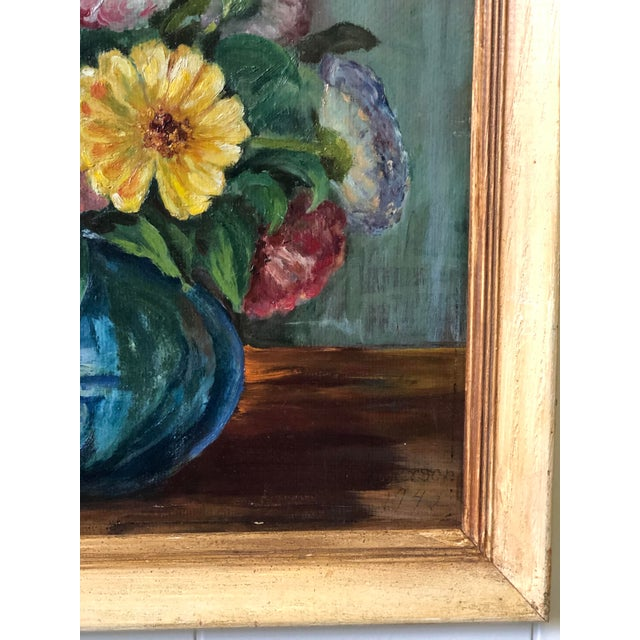 Mid 20th Century Bright and Cheerful 1940s Floral Still Life For Sale - Image 5 of 13