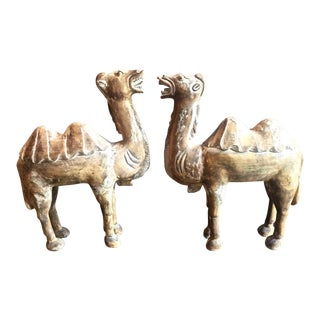Pair of Large 19th Century Chinese Carved Wood Camels For Sale