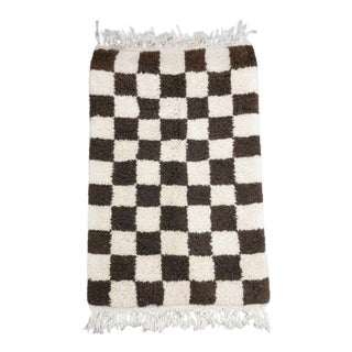 Dark Brown and Natural White Checker Mini Moroccan Wool Rug - 2x3 Ft For Sale