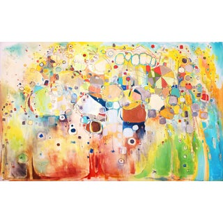 Clara Fialho Worried Shoes Large Colorful Abstract Painting 2014 For Sale
