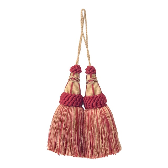 Pair of Key Tassels in Red and Gold With Looped Ruche Trim For Sale
