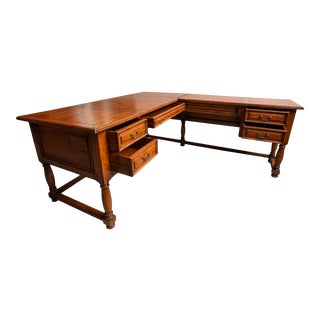 1990s Traditional 2 Piece L-Desk For Sale