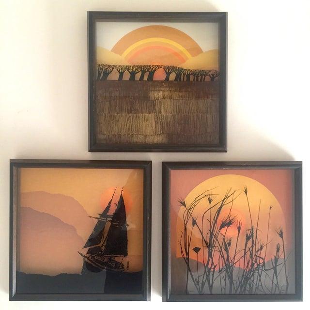"1974 Vintage Modernist Virgil Thrasher ""Lucid Lines"" Painted Glass 3d Shadow Box Art - 3 Piece Set For Sale - Image 11 of 11"