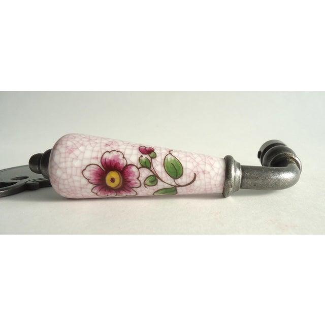 Vintage Limoges Porcelain Pink Flower Door Knob Set | Chairish