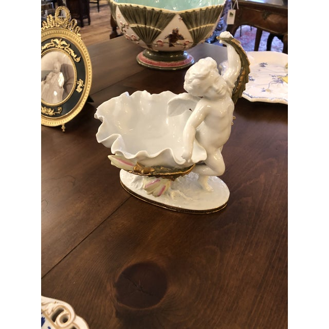 Putti Decorated White and Gold Porcelain Dish For Sale - Image 9 of 9