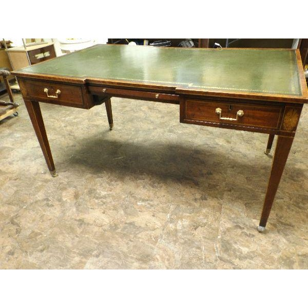 RARE and Awesome Vintage Original Leather Top Partner / Writing Desk possibly by Maitland Smith. This vintage desk is not...