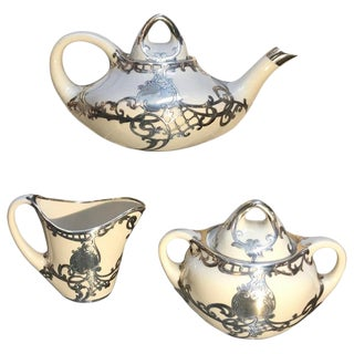 Antique Sterling Silver Overlay Tea Set - 3 Pieces For Sale