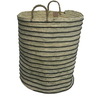 Moroccan Grey Straw Hamper For Sale