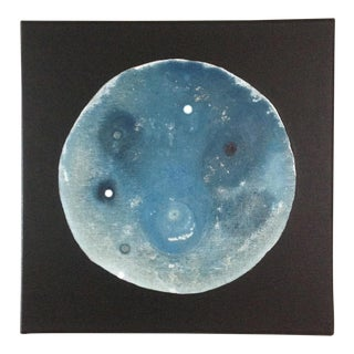 Abstract Blue and White Moon Painting For Sale