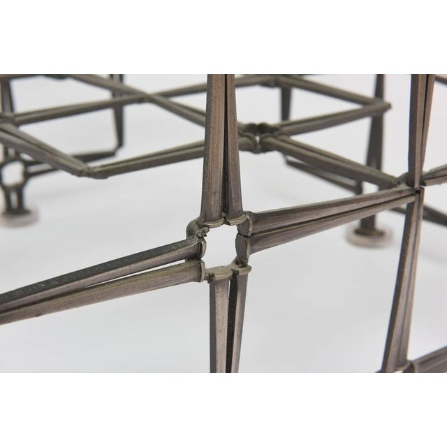 1980's Vintage Large Square Brutalist Nails & Glass Cocktail Table For Sale In West Palm - Image 6 of 10