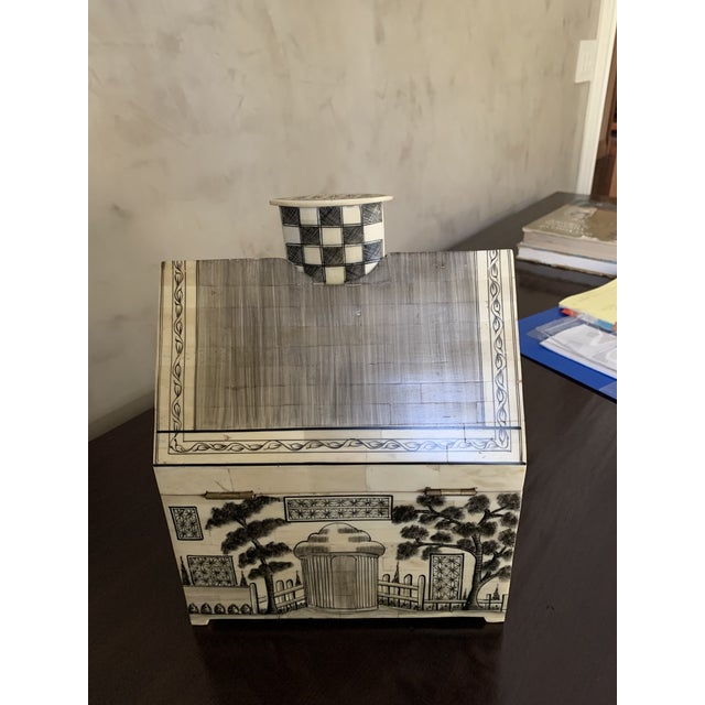 Delightful repurposed camel bone hand painted Indian money box. This adorable box has a lock and key. There is a removable...
