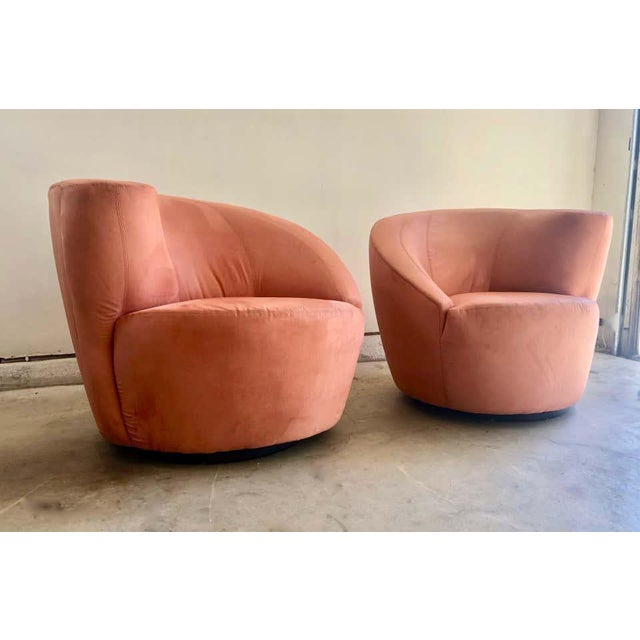 """Modern Vladimir Kagan for Directional """"Nautilus"""" Swivel Chairs - A Pair For Sale - Image 3 of 13"""
