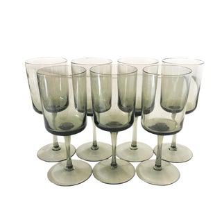 Mid Century Modern Smoke Glass Wine Glasses - Set Of 7