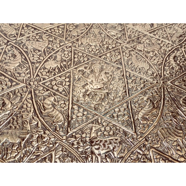 Large Handcrafted Decorative Indo-Persian Hammered Brass Tray For Sale - Image 10 of 13