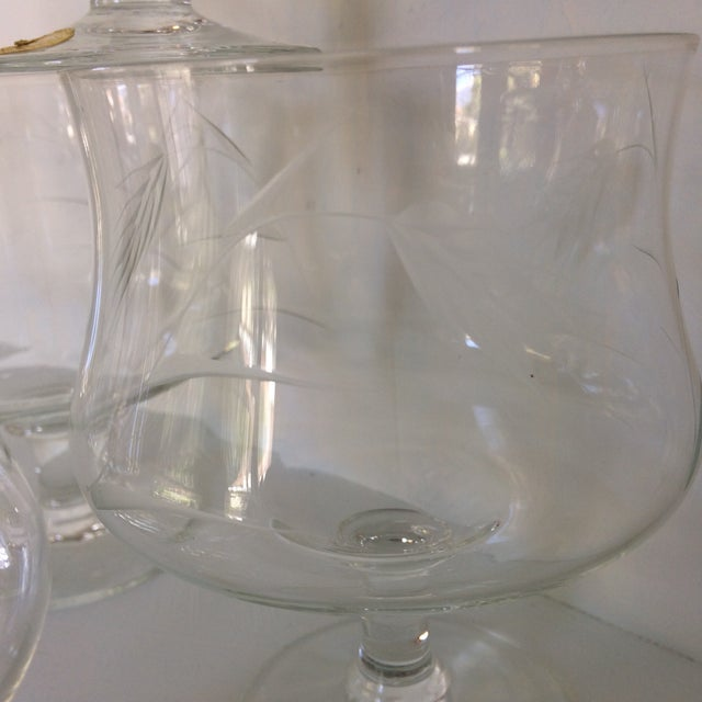 Transparent Sasaki Noritaki Mid-Century Modern Wheat Patterned Crystal Brandy Cocktail Glasses - Set of 6 For Sale - Image 8 of 13