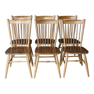 Vintage Hand Made Solid Oak Shaker Primitive Style Spindle Back Dining Chairs-Set of 6 For Sale
