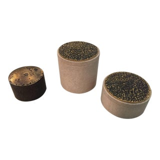 Collection of Shagreen and Bronze Lid Boxes