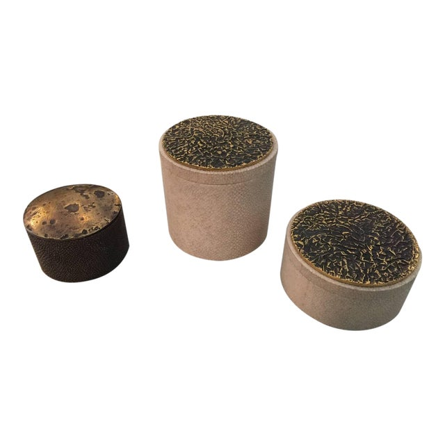Collection of Shagreen and Bronze Lid Boxes For Sale
