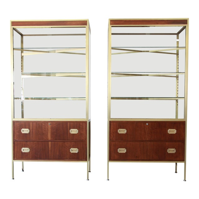 Baker Furniture Hollywood Regency Campaign Style Lighted Display Cabinets - a Pair For Sale