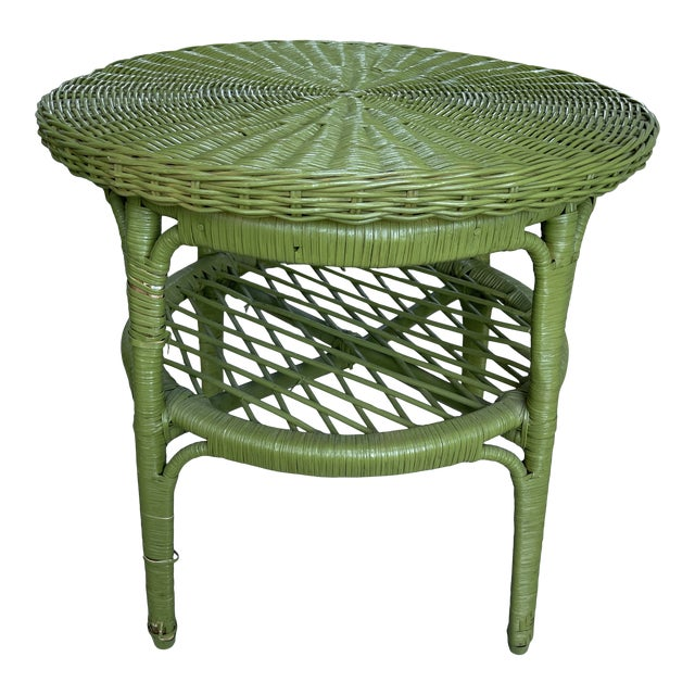 Vintage Avocado Green Wicker Side Table For Sale