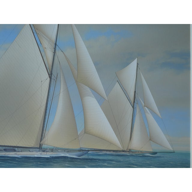 2000 - 2009 21st Century Vintage Yacht Racing Painting Possibly America's Cup by Richard Lane For Sale - Image 5 of 12