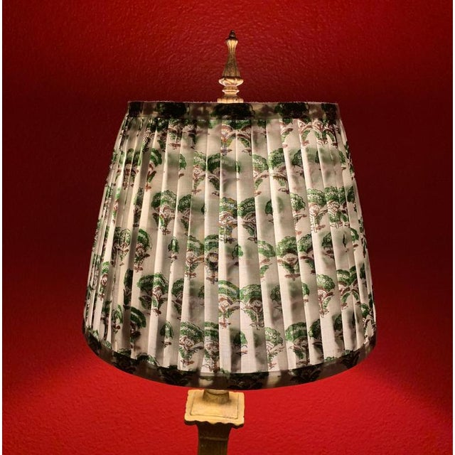 - New, custom, handcrafted lampshade - Fabric: Green and Brown Indian block printed fabric. . - Lining: White Lining -...