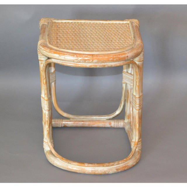 Mid-Century Modern Vintage Bamboo & Cane White Washed Side Table, End Table For Sale - Image 3 of 10