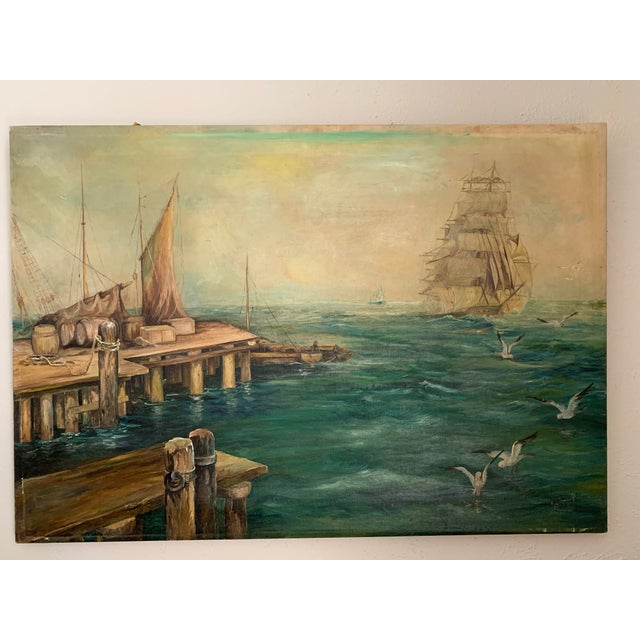 Traditional Rustic Vintage Sailing Ship Painting Oil on Canvas Signed by Artist J H Johnson For Sale - Image 3 of 13