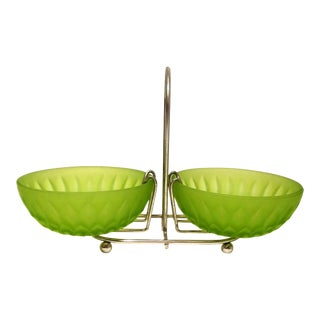 1960s Mid-Century Modern Emerald Green Depression Glass Nut Dishes & Stand - 3 Pieces