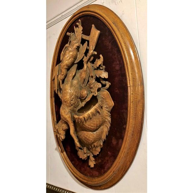 "Antique Swiss Carved Walnut Hunter's ""Nature Mort."""