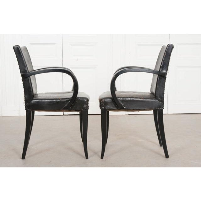 Art Deco French 20th Century Art Deco Ebony Armchairs - a Pair For Sale - Image 3 of 10