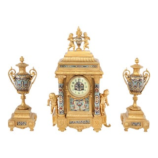 Late 19th Century French Dore Bronze Mounted / Champleve Garniture Set - 3 Pieces For Sale