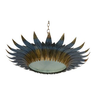 Large Gilt and Silvered Metal Sunburst Ceiling Fixture For Sale