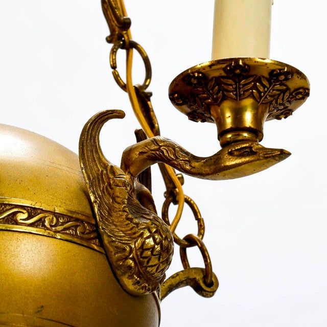 Small Round Neoclassical Three-Light Brass Fixture with Original Chain - Image 4 of 11