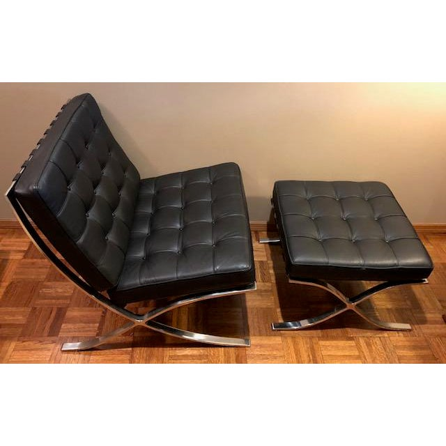 1980s Barcelona Mies Van Der Rohe Pavilion Chair & Ottoman For Sale - Image 5 of 10