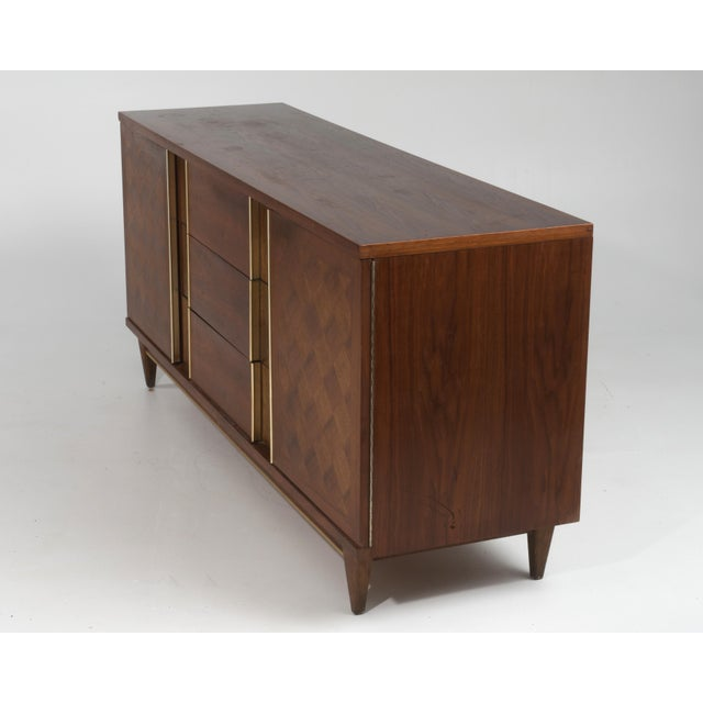 "Mid-Century Modern Vintage Witz ""The Basic Line"" Furniture Mid Century Marquetry Burl Walnut Brass Dresser 1960s For Sale - Image 3 of 12"