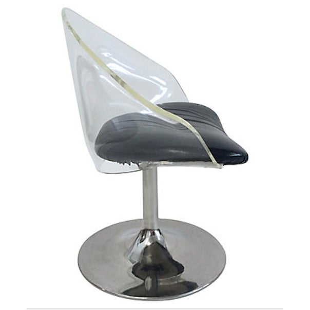 "Mid-century Lucite chair with chrome base and black vinyl seat. Seat, 16""H. Age wear."