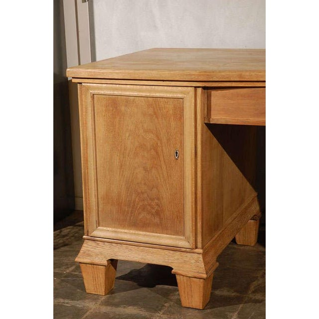 French Oak Two Pedestal Desk circa 1930's For Sale - Image 3 of 8