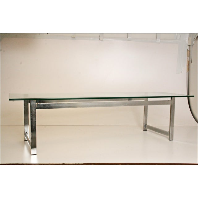 Mid-Century Modern Chrome & Glass Coffee Table - Image 3 of 11