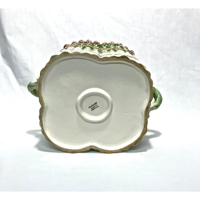 Green Portuguese Majolica Ceramic Asparagus Handled Container For Sale - Image 8 of 8