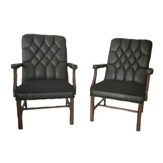 Tufted Back Black Leather & Fabric Chairs - A Pair
