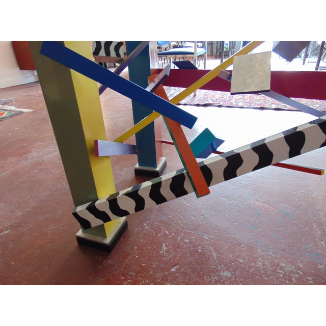 Memphis Style Abstract Geometric Table For Sale - Image 4 of 7