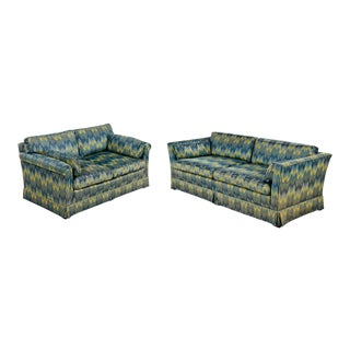 Chevron Fabric 1970s Baker Sofa Loveseat Sofa Set For Sale