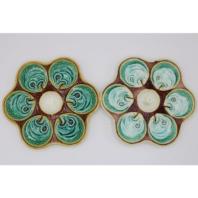 English Antique Wedgewood Majolica Ceramic Oyster Plates For Sale - Image 3 of 12