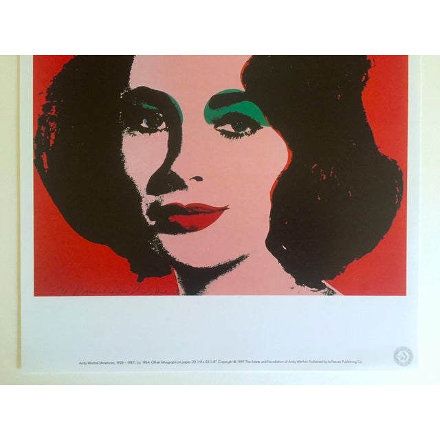 "Americana Andy Warhol Estate Rare 1989 Collector's Lithograph Pop Art Print "" Liz Taylor "" 1964 For Sale - Image 3 of 10"