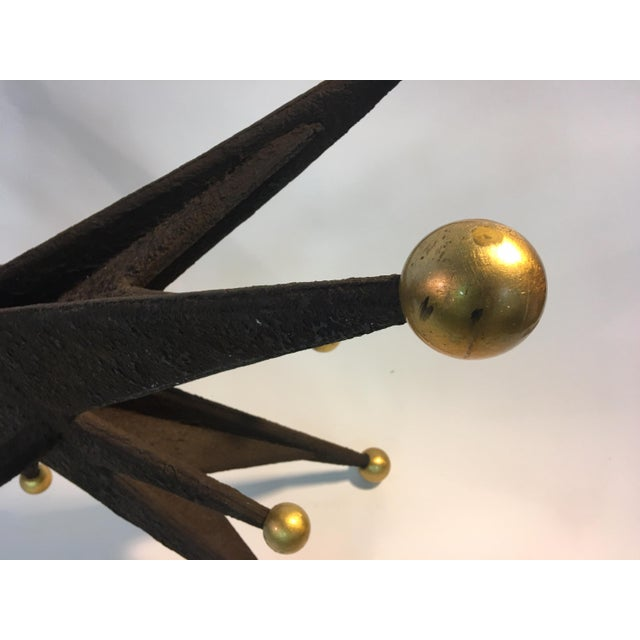 SPECTACULAR ITALIAN BRUTALIST STARBURST AND GOLD BALL RESIN CONSOLE TABLE For Sale - Image 4 of 10