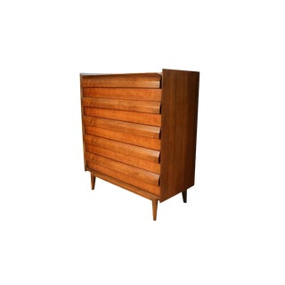 Mid Century Lane First Edition Highboy Tall Dresser Louvered Front Drawers For Sale