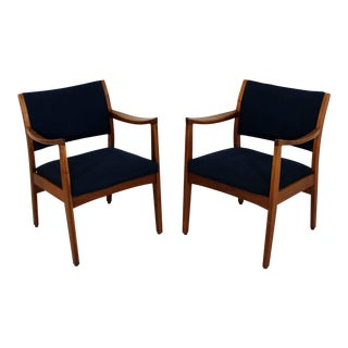 1960s Mid-Century Modern Johnson Furniture co. Walnut Armchairs - a Pair
