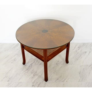 Mid Century Modern Small Danish Wood Cane Round Starburst Coffee Table 1960s Preview