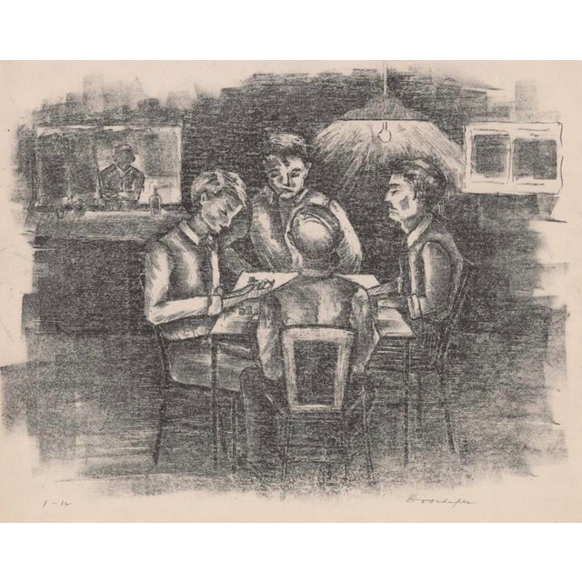 Mid-Century Card Players Lithograph For Sale